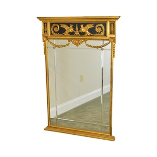 LaBarge Regency Style Gilt & Black Trumeau Mirror W/ Griffin Motif For Sale