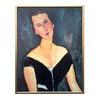 "Modigliani Rare Vintage 1980's Lithograph Print Framed Poster "" Madame Georges Van Muyden "" 1917 For Sale"