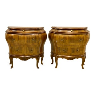 Near Italian Burlwood Bombay Chests - a Pair For Sale