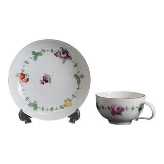 Meissen Marcolini Hand Painted Porcelain Cup & Saucer