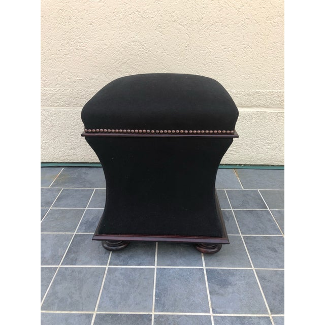 Fabulous pair of George smith storage ottomans/foot stools. Striking black velvet mohair fabric with nail head trim and...