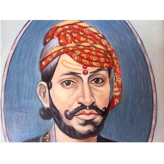 Fantastic oil on canvas portrait painting of an Indian maharaja in colorful turban. Custom framed in an Vintage gilt gold...