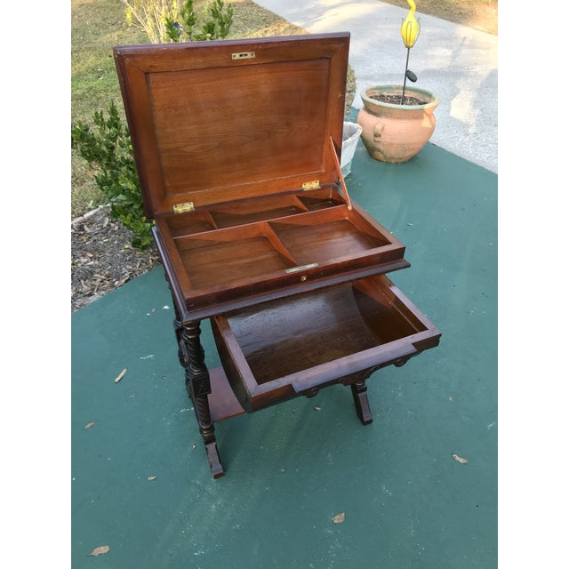Antique Sewing Cabinet or Game Table - Image 3 of 11 - Antique Sewing Cabinet Or Game Table Chairish