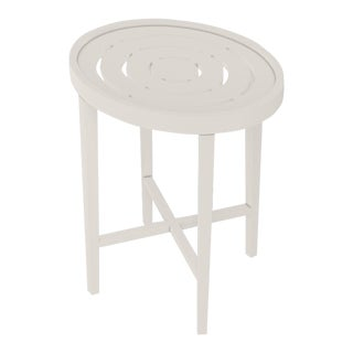 Oomph On the Rocks Oval Outdoor Side Table, White For Sale