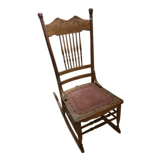 1900s Antique Oak Rocker For Sale