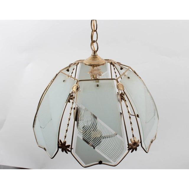Mid-Century Modern Brass and Frosted Pattern Glass Ceiling Pendant Lamp For Sale - Image 3 of 6