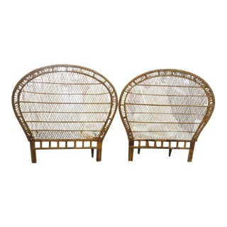 Rattan & Wicker Twin Headboards - a Pair