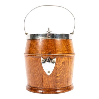 Early 20th Century English Oak Biscuit Barrel For Sale