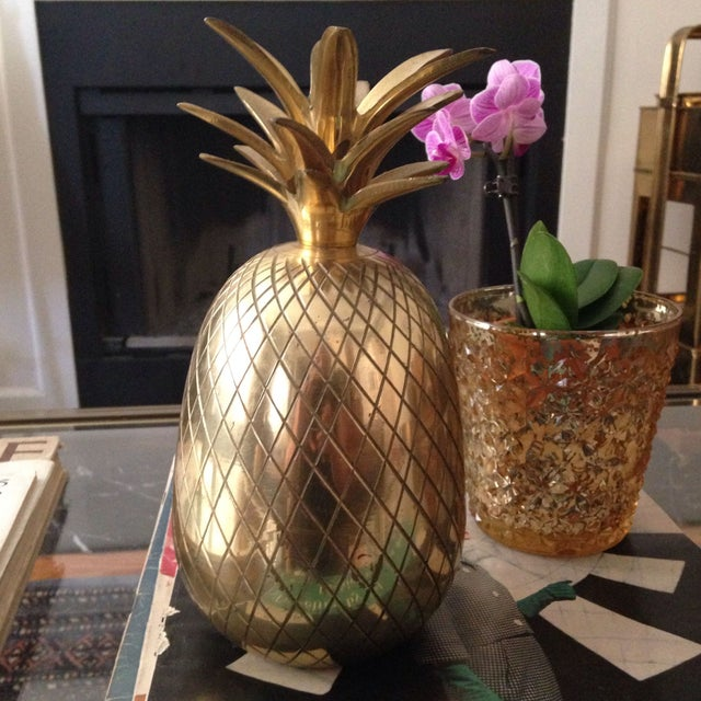 "Hollywood Regency 9"" Brass Pineapple Candleholder For Sale - Image 3 of 3"