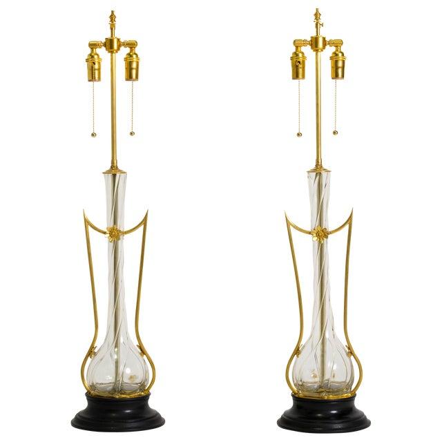 Art Nouveau Brass and Art Glass Lamps - a Pair For Sale
