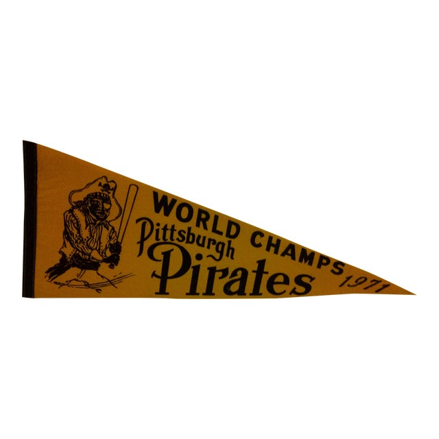 1971 Vintage MLB Pittsburgh Pirates World Champs Team Pennant For Sale