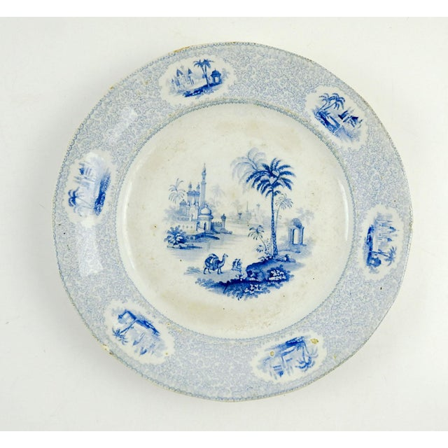 Early 19th Century Antique Blue & White Transferware Plate Euphrates Pattern For Sale - Image 5 of 5