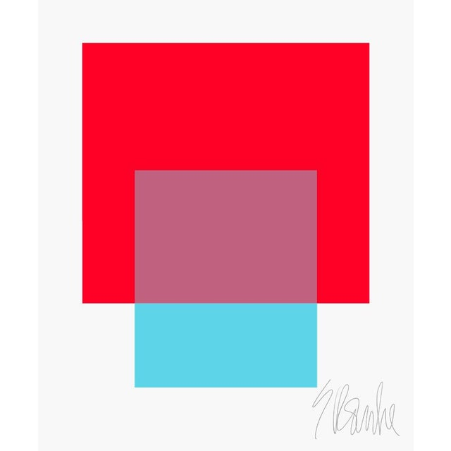 "The Interaction of Red and Turquoise Fine Art Print 20"" X 24"" by Liz Roache For Sale In Boston - Image 6 of 6"