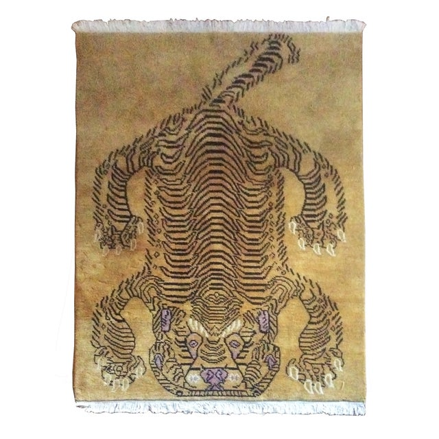 "Hand-Knotted Tibetan Tiger Rug - 4'7"" x 6'7"" - Image 1 of 3"