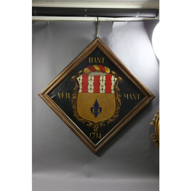Mid 19th Century European Oil on Canvas Crest or Coat of Arms For Sale - Image 5 of 5