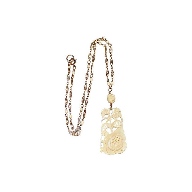 1920s 1920s Carved Bone Pendant & Ornate Chain For Sale - Image 5 of 5