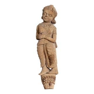 Antique Indian Gujarat Hand Carved Temple Carving Statue Depicting a Woman For Sale