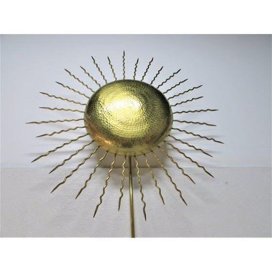 Vintage Hammered Brass Sunburst Sconce For Sale - Image 4 of 5