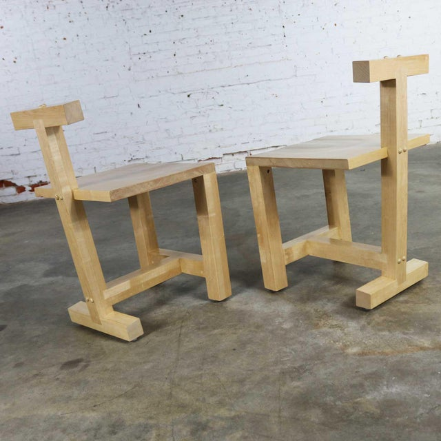 Memphis Pair Post-Modern Hand-Crafted Maple Chairs Signed Brice B. Durbin 1996 For Sale - Image 3 of 13