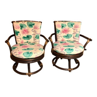 1970s Ficks Reed Swivel Chairs- a Pair For Sale