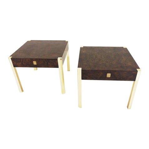 1970's Burl Wood and Brass Tables - a Pair For Sale