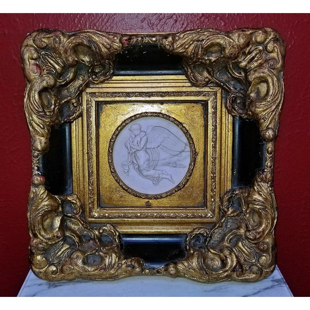 Gold 19th Century Russian Framed Marble Plaques Ft Angels- A Pair For Sale - Image 8 of 13