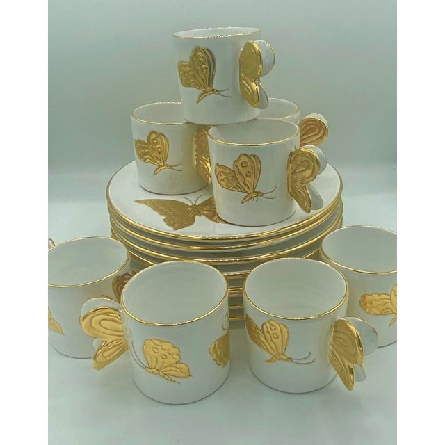 Vintage Hollywood Regency Carole Stupell Golden Butterfly Luncheon Plate and Cups - Set of 8 For Sale - Image 9 of 12