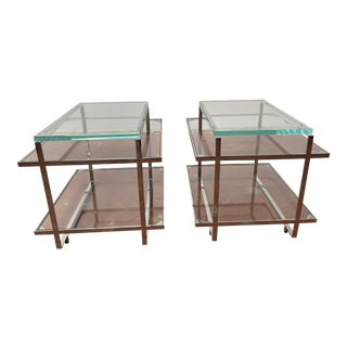 Dakota Jackson for Decca Home Modern Polished Stainless Steel Frame Side Tables - a Pair For Sale