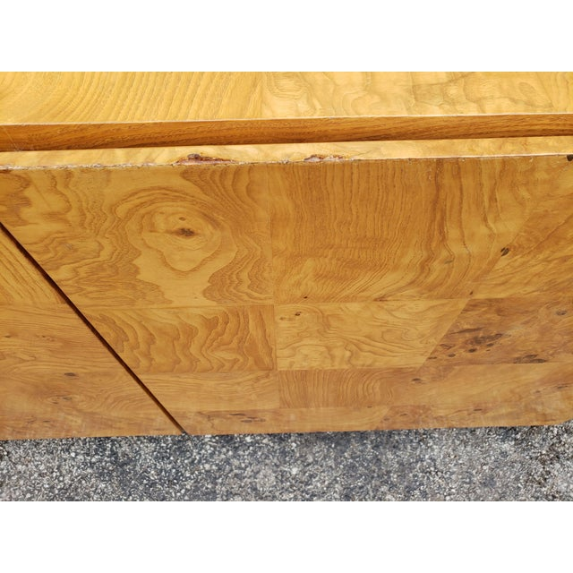 Wood 1970s Milo Baughman Burl and Chrome Credenza For Sale - Image 7 of 12