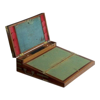 George III Period Brass-Bound Campaign Writing Desk Box For Sale