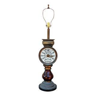 Mahogany and Brass Ships Telegraph Mounted Lamp