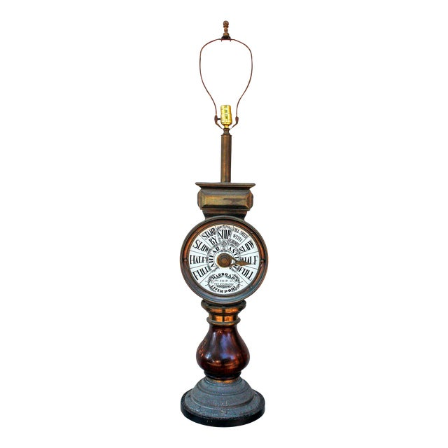 Mahogany and Brass Ships Telegraph Mounted Lamp For Sale