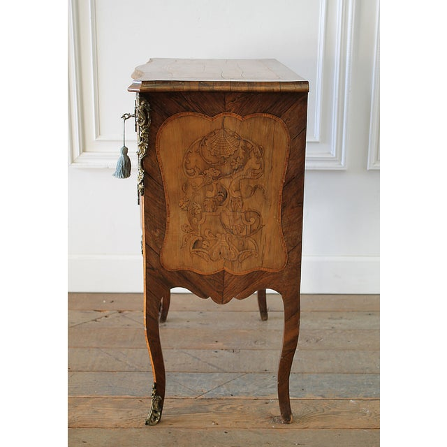 Mid 20th Century 20th Century Louis XV Style Inlay Commode with Bronze Mounts For Sale - Image 5 of 13