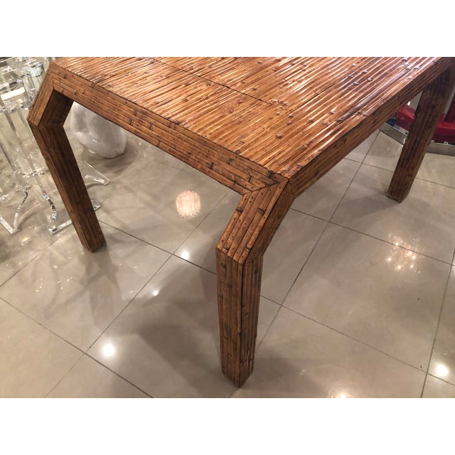 Vintage Hollywood Regency Palm Beach Flat Reed Bamboo Rattan Game Dining Table For Sale - Image 11 of 13