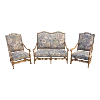1900s Louis XIII Style Os De Mouton Walnut Settee and Armchairs - Set of 3 For Sale
