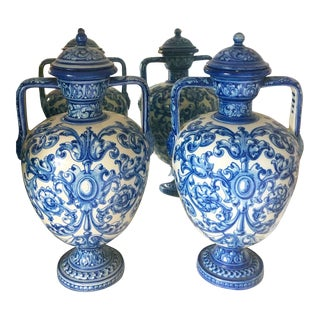 Early 20th Century Talavera España Urns - a Pair For Sale