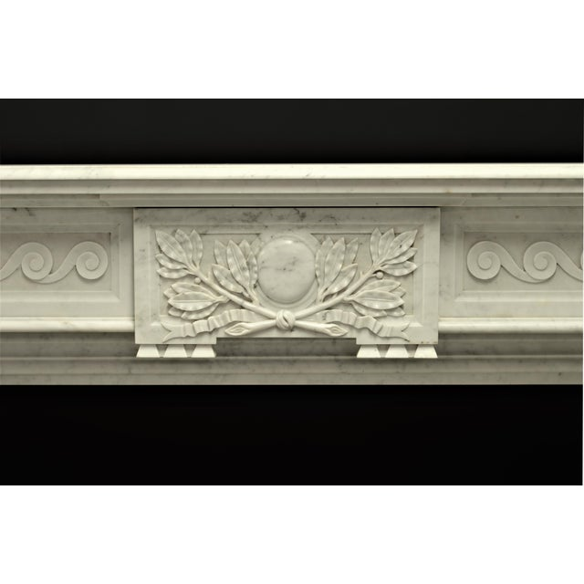 Belgian Very Rich Carved White Marble Louis XVI Fireplace For Sale - Image 3 of 6