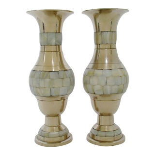 Brass & Mother of Pearl Vases, a Pair For Sale