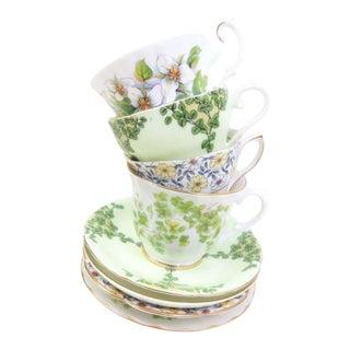 Vintage Mismatched Bone China Tea Cups & Saucers - Set of 4 For Sale