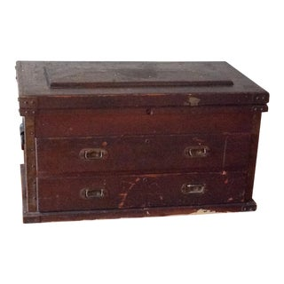 20th Century Traditional Wood Carpenter Chest For Sale
