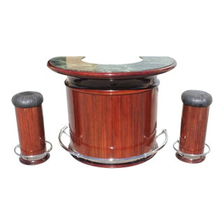 1940s Art Deco Exotic Macassar Ebony Semicircle Dry Bar Set - 3 Pieces For Sale