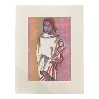 """1953 """"Basuto Herd Boy"""" Rosa Hope South African Figurative Lithograph For Sale"""