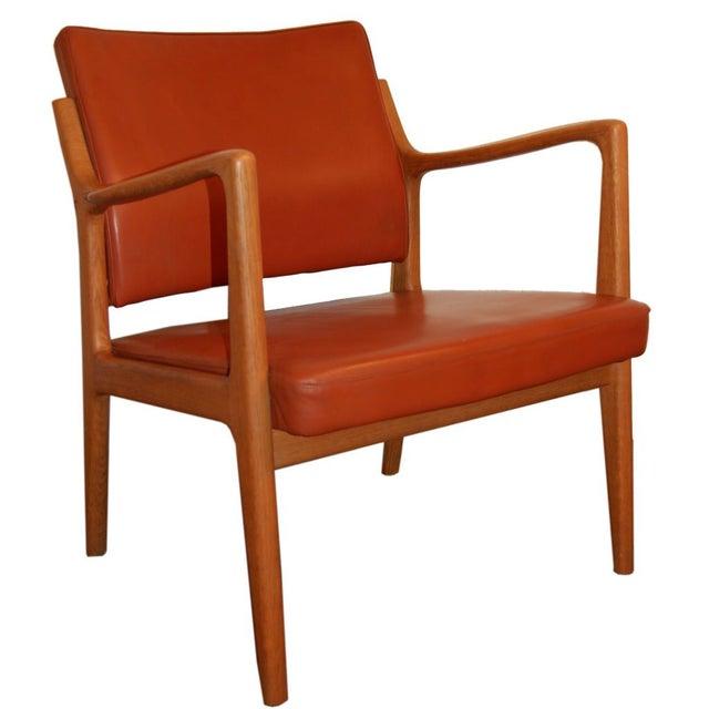 Karl-Erik Ekselius Leather & Teak Arm Chair For Sale In Atlanta - Image 6 of 6