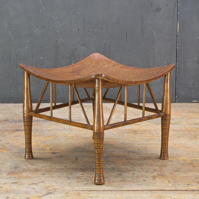 Arts & Crafts Old Victorian Liberty Thebes Stool Bohemian Egyptian Revival Rustic Cabin Modern For Sale - Image 3 of 8
