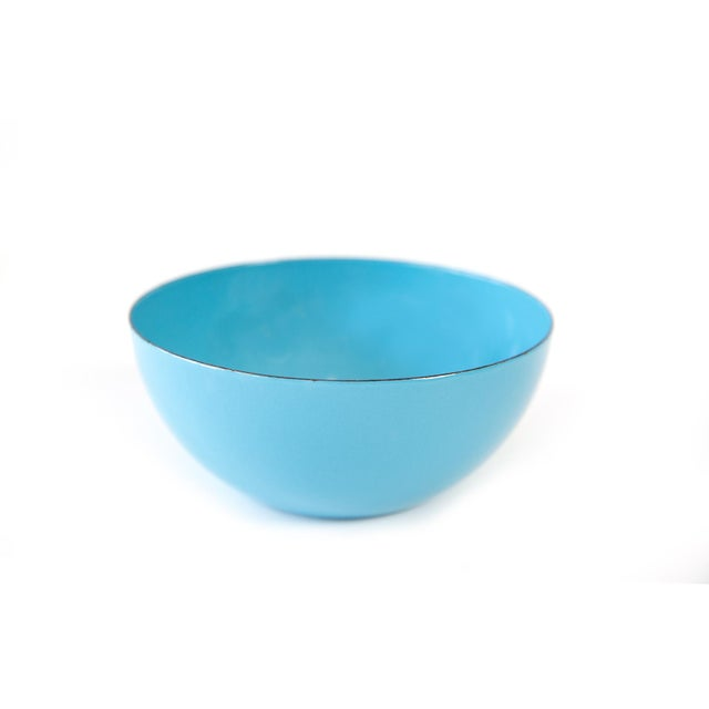 Set of 8 bright pastel blue Norwegian Cathrineholm enamel nesting or stacking bowls. Perfect for soups and cereal or...