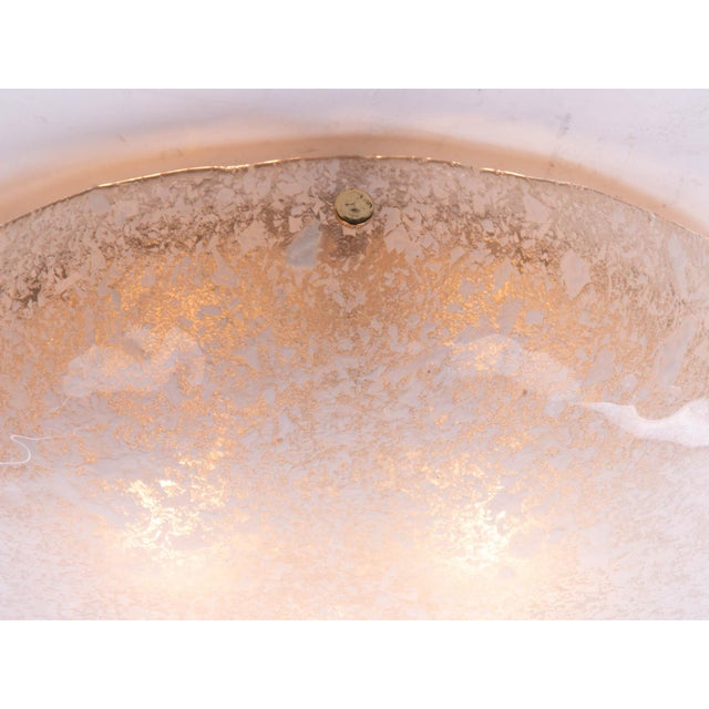 Contemporary 1960s Hillebrand Flush Mount Venice Murano Glass on Brass For Sale - Image 3 of 9
