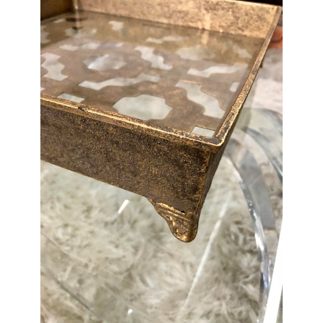 Contemporary Gold Metal and Glass Tray For Sale - Image 4 of 6
