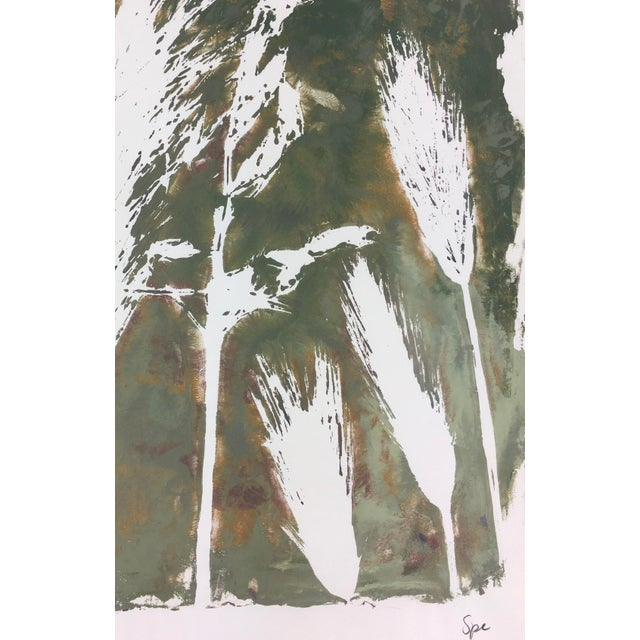 Modern abstract painting of grass and leaves by artist Spe, 2013. Signed lower right. Original artwork on paper displayed...