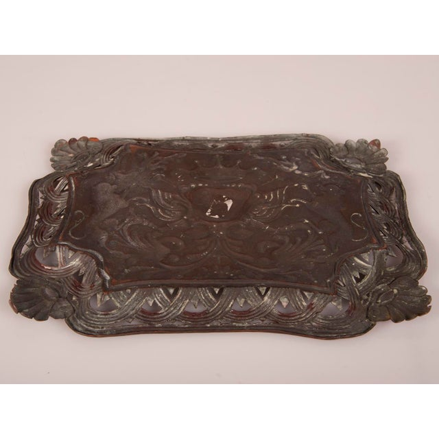 Copper Antique French Copper Tray with Heraldic Lions circa 1890 For Sale - Image 8 of 8