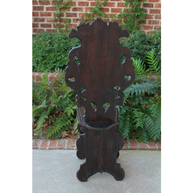 Mid 19th Century Antique Italian Carved Walnut Sgabello Chair For Sale - Image 11 of 13